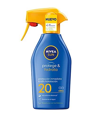 NIVEA SUN Protege & Hidrata Spray Solar FP20 (1 x 300 ml), protector hidratante y resistente al agua con protección UVA/UVB, protección solar media en formato pistola