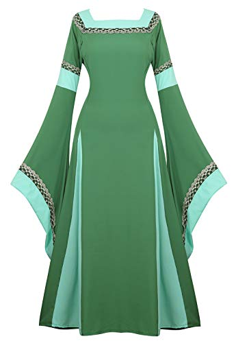 Womens Irish Medieval Dress Renaissance Costume Retro Gown Cosplay Costumes Fancy Long Dress Green-M