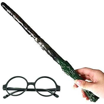 アウトレット/ハリーポッター 風 コスプレ セット/光る 魔法の杖 + メガネ