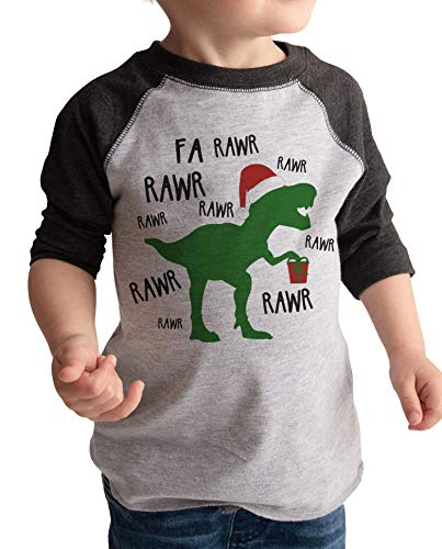 7 ate 9 Apparel Funny Kids Christmas Dinosaur Shirt Grey 5T