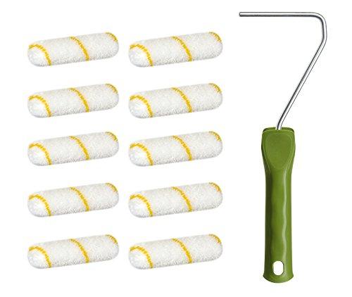 10 x wałek malarski z żółtego włókna 10 cm 12 mm runo + 1 wałek malarski 29 cm zestaw wałków malarskich