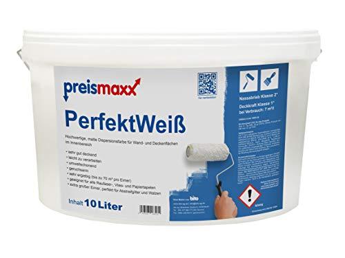 preismaxx Wandfarbe, weiß, hohe Deckkraft Klasse 1, matt, 10 Liter, PerfektWeiß