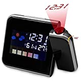 Wall Clock Decor Large, Digital Alarm Clock with Projector | Bedside Wake-up Ceiling/Wall