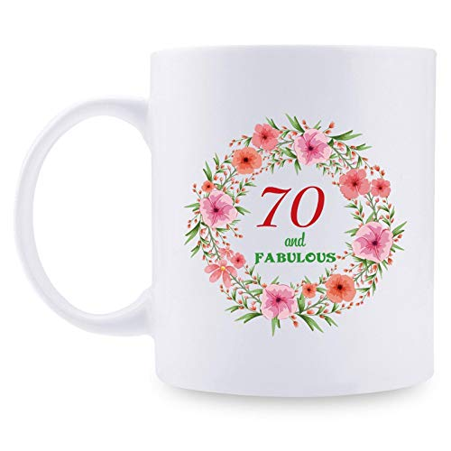 70th Birthday Gifts for Women - 70 and Fabulous with A Garland Birthday Mug - 70 Year Old Present Ideas for Mom, Wife, Grandmother, Daughter, Sisters, Friends, Colleague, Coworker - 11 oz Coffee Mug