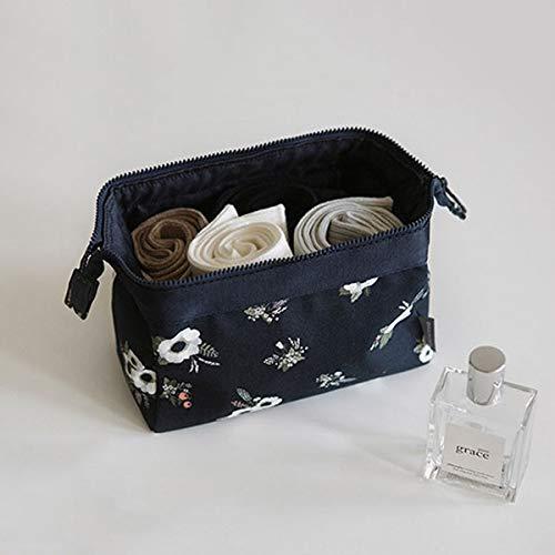 PoplarSun Sac à cosmétiques de Mode Femmes imperméable Sacs de Maquillage Flamingo Voyage Organisateur Kits Sacs de Maquillage Toilette Portable Esthéticienne (Color : Black Flowers)