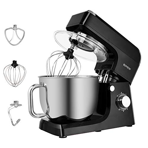 ROVSUN 75 Quart Stand Mixer 660W 6Speed Electric TiltHead Kitchen Food Mixer with Stainless Steel Bowl Dough Hook Beater Whisk Black