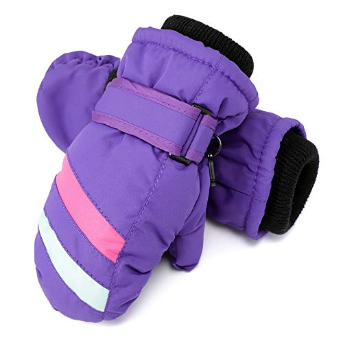 Cooraby Kids Winter Snow Mittens Waterproof Warm Ski Mittens with Adjustable Mitten Clip