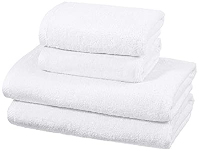 AmazonBasics - Juego de 4 toallas de secado rápido, 2 toallas de baño y 2 toallas de mano - Blanco