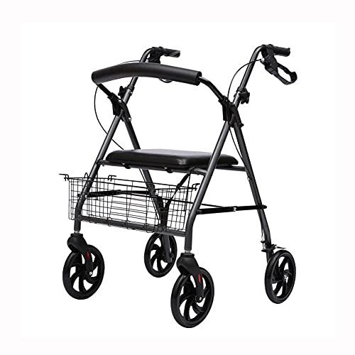 FLOOR Andador con Ruedas, Andador Plegable, con Cuatro Ruedas, Material De Aleación De Aluminio, con Asiento Y Ruedas - Puede Sentarse, Andador Portátil para Ancianos Y Discapacitados
