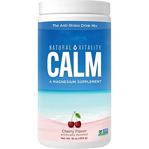 Natural Vitality Calm, Magnesium Citrate Supplement Powder, Anti-Stress Drink Mix, Cherry, 16 Ounces (Package May Vary)