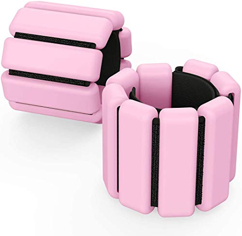 Wrist Weights Adjustable Ankle Weights Set Ankle Wrist Weight Bracelet Ring Fupxd WeightBearing Fitness Wristband Pink 1 PoundSold as a Pair