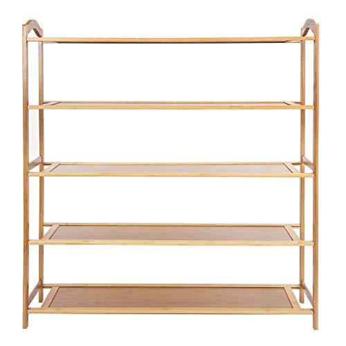 Zapatero de bambú de 5 niveles, estante de almacenamiento de zapatos apilable, organizador de soporte, estante de almacenamiento con capacidad para 15-20 pares de zapatos para pasillo, baño, sala de e