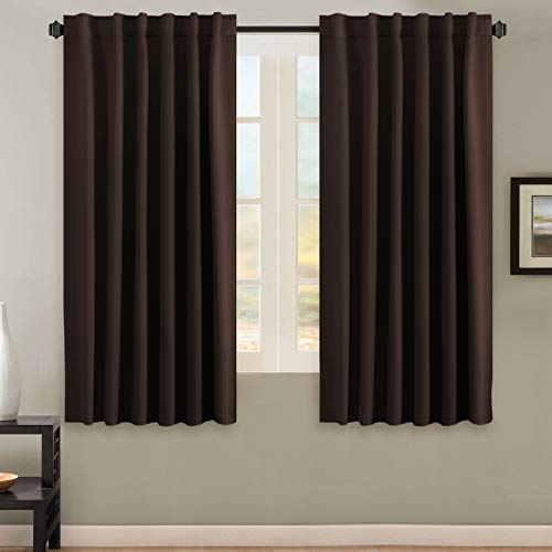 Blackout Curtains Thermal Insulated Window Treatment Panels Room Darkening Blackout Drapes for Living Room Back Tab/Rod Pocket Bedroom Draperies, 52 x 63 Inch, Chocolate Brown, 2 Panels