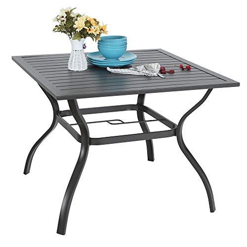 "MFSTUDIO 37' Metal Steel Slat Patio Dining Table Square Backyard Bistro Table Outdoor Furniture Garden Table, 1.57"" Umbrella Hole, Black"