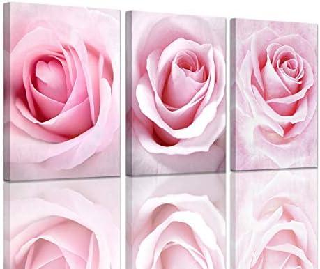 Girls Bedroom Decor Light Pink Rose Wall Art Room Decorations Flower Canvas Art Wall Decor Teenage product image