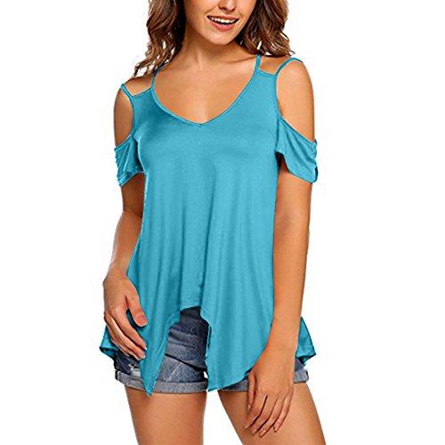 Zimuuy Zimuuy Damen Sommer Bluse, Frau Mode Plus Size Reine Farbe Trägerlos Schulterfrei Kurzarm Shirt Tunika Oberteile Crop Top Weste (XXXL, Himmelblau)