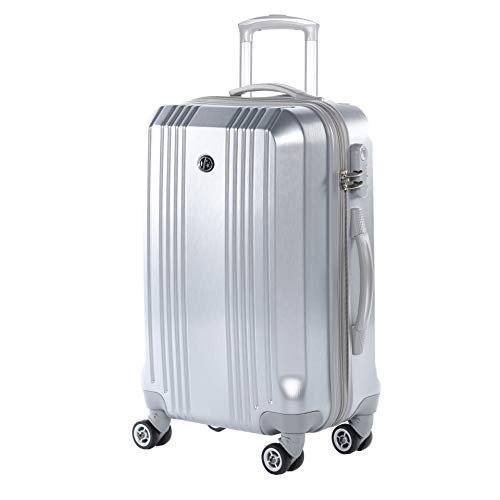 FERGÉ Trolley bagaglio a mano CANNES - Valigia rigida 55 cm valigetta bagaglio cabina 4 ruote argento