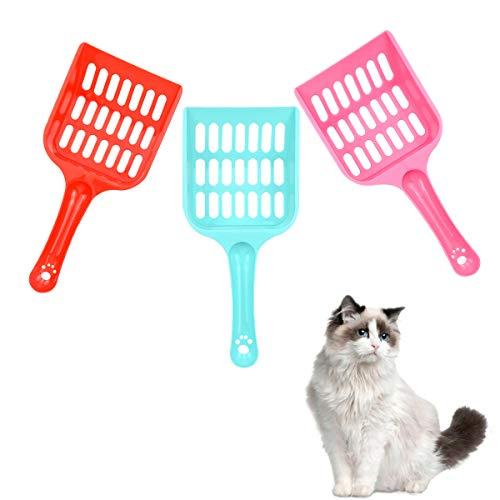 Jinlaili 3 Stück Katzenstreuschaufel, Kunststoff Katzen Streuschaufel, Katzenstreu Schaufel Behälter, Katzenklo Schaufel für Kitty Katzen Haustiere, Haustier Reinigungswerkzeug mit Bequemem Griff