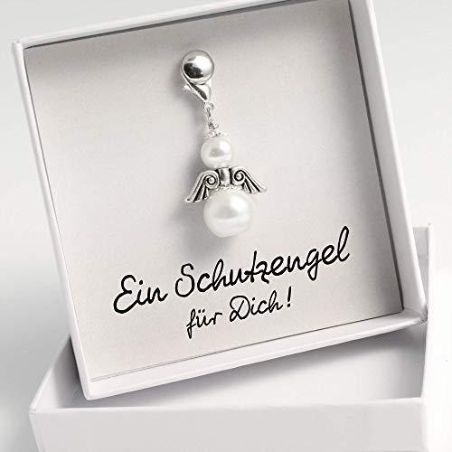 Schutzengel Kettenanhänger aus weißen Perlen in Geschenkschachtel Freundschaftsgeschenk
