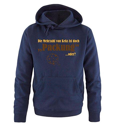 Comedy Shirts - Mehrzahl von Keks - Packung - Herren Hoodie - Navy/Gelb-Braun Gr. L