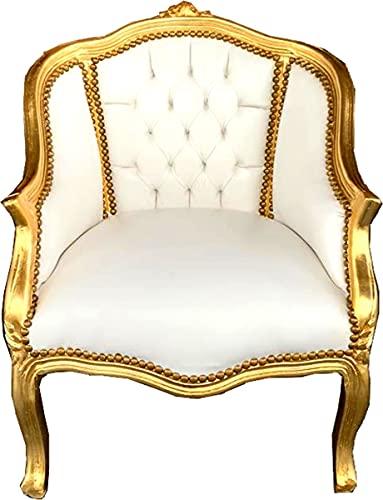 Casa Padrino Barock Damen Salon Sessel Weiß Kunstleder/Gold - Salon Möbel