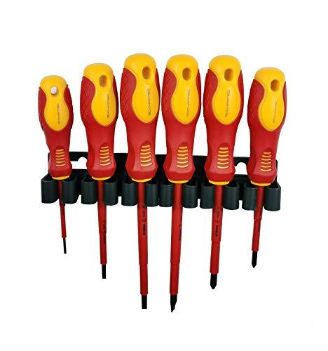 6-teiliges VDE-isoliertes Schraubendreher-Satz, 1000V mit magnetischer Spitze, TPR-Griff Elektriker Soft-Grip-Schlitz-Kreuzschlitz und geschlitzte Werkzeuge mit Sicherheitstester für Elektriker