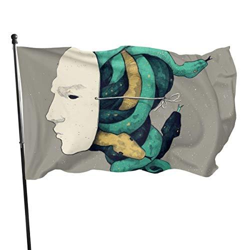 Masker en banner verlicht slangenkleuren.