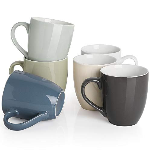 Dowan Juego de tazas de café con mango grande, juego de 6 tazas apilables de cerámica para café, té, cacao y bebidas calientes, colores surtidos