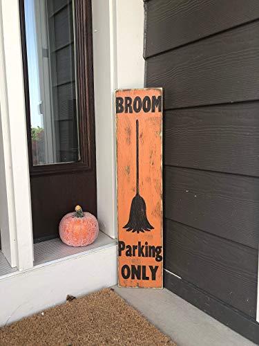 SIGNS Besen Parkplatz nur lustig Halloween lustig Veranda Halloween lustig Vertikal Holz lustig Hexe Dekor