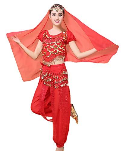 Saoye Fashion Mujer Danza del Vientre Trajes Establece Indian Dance Rendimiento Danza Niñas Ropa Disfraz con Borla Tops+Belt+Pants+Veil 4 Pieza Conjuntos