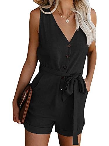 Mameluco corto casual con cuello en V, color sólido, sin mangas, fuera del hombro de una sola pieza con bolsillos
