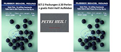 Jenzi Set: 2 Packungen (2X 20 Stück) Gummiperlen 6mm Rubber Beads+ gratis Petri Heil! Aufkleber