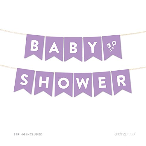 Andaz Press Girl Baby Shower Hanging Pennant Garland Party Banner with String, Lavender, Baby Shower, 5-feet, 1-Set