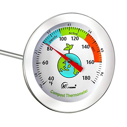 Cootway Compost Thermometer, 20 Inch Temperature Stem Probe Backyard Compost Thermometer-2 Inch Diameter Waterproof Anti-Fog Fahrenheit/Celsius Dial with Composting Temperature Guide Zone