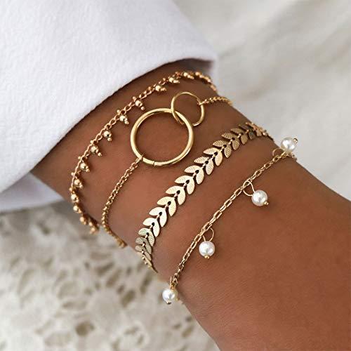 Arimy Juego de pulseras de perlas bohemias con diseño de hojas doradas y círculos de moda, accesorios para mujeres y niñas (4 piezas)