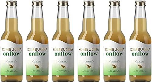 Onflow Té Kombucha en Base a SCOBY, Sabor a Té Verde, Bebida Vegana, Ecológica y Orgánica, Elimina Toxinas, Elaborado en España, Pack de 6 x 33 cl