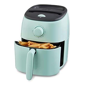 Dash Tasti Crisp Electric Air Fryer + Oven Cooker with Temperature Control Non-stick Fry Basket Recipe Guide + Auto Shut Off Feature 1000-Watt 2.6 Quart - Aqua