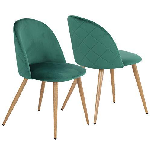 Coavas - Sedie da pranzo in morbido velluto, per la cucina, il soggiorno, il salotto, la sala da pranzo e la camera da letto, con gambe in metallo effetto legno Verde scuro