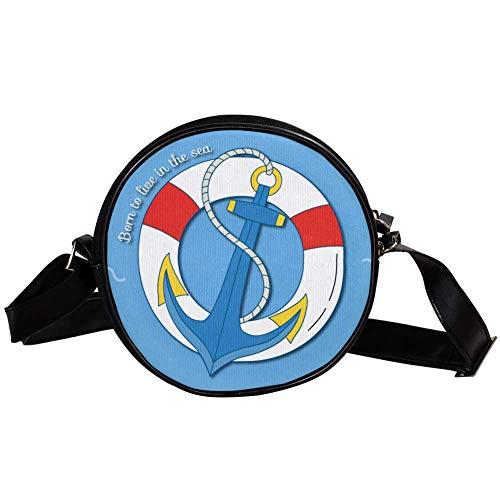 Bandolera redonda pequeña bolsa de mano para mujer de moda, bolso bandolera, bolso bandolera, bolso de lona, accesorios para mujer, náutico, anillo de natación, ancla azul