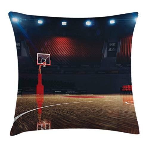 Funda de cojín de baloncesto, imagen de la cancha de baloncesto vacía Sport Arena con impresión de suelo de madera, funda de almohada decorativa cuadrada acento de 45,72 x 45,72 cm, marrón negro