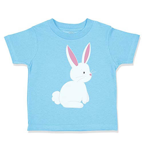 Custom Toddler T-Shirt Easter Bunny White 2 Cotton Boy & Girl Clothes Funny Graphic Tee Aqua Blue Design Only 2T