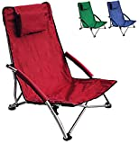 Low Sling Beach Chair Folding Lightweight Concert Lawn Red