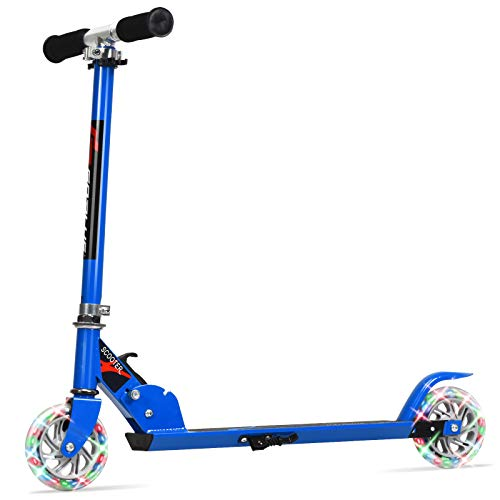 2 wheels scooters Goplus Folding Kick Scooter for Kids, 2 Flash Wheels Deluxe Aluminum, Rear Fender Brake ,Adjustable Height, Sports Scooter for Girls and Boys Kids Age 4-13 Years Old