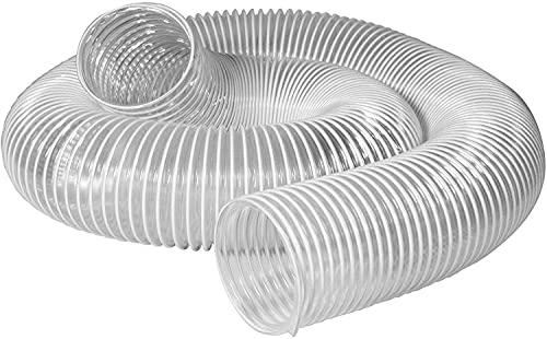 POWERTEC 70239 PVC Dust Collection Hose (6 Inch x 5 Feet) | Flexible Clear View Heavy Duty PVC Hose