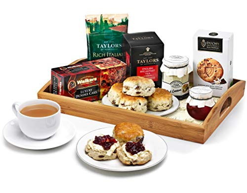 Afternoon Tea & Scones Gift Set - Hand Wrapped Gourmet Food Basket, in Gift Hamper Box