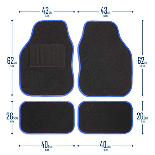 Safe Travel 27651 Tapis de sol universels pour véhicules à conduite à gauche, Talon soudé, Coutures de couleur Bleue