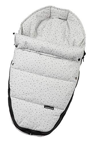 Gesslein Baby-Nestchen, 731 Sterne grau meliert, warmes Kuschelnest/Fußsack für Neugeborene und Säuglinge, für Kinderwagen Wanne, Babyschale, Bettchen und Wiege, inkl. Gurtschlitze, 715731000