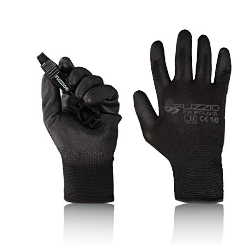 FUZZIO® 20 Paar Arbeitshandschuhe EN388 PU Beschichtung Bauhandschuhe Montage mit Handschuh-Klammer (XL|10, Schwarz)