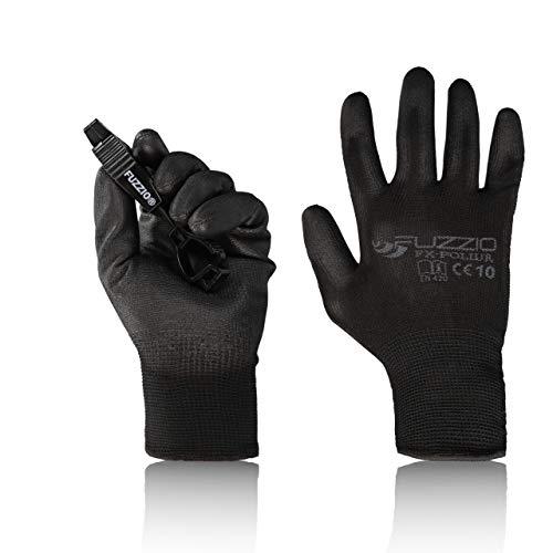 FUZZIO® 20 pares de guantes de trabaj poliuretano, clip para guantes (XL|10, Negro)