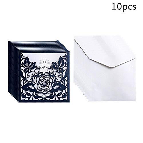 10pcs Spitze Hochzeits Einladungen mit Umschlägen Rosen Blumen Gruß Karten Einladungs Karten Ereignis Partei Versorgungen